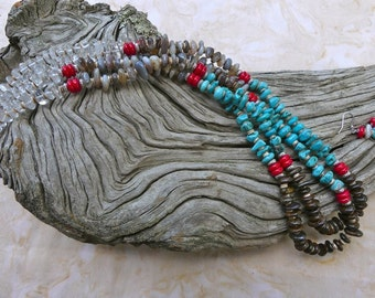 31 Inch Southwestern Double Strand Four Color Freeform Agate Rondelle Necklace with Earrings