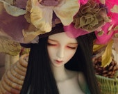 BJD Doll Hat, Large brown straw with flowers