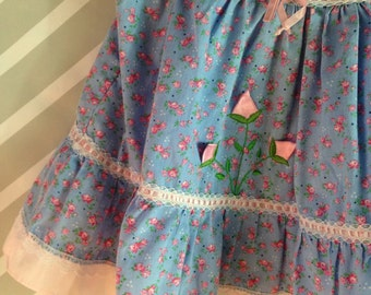 vintage blue and pink floral ruffled dress with Peter Pan collar shabby chic lace size 2 3 4 years