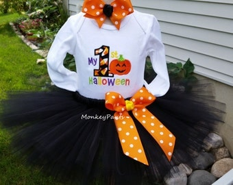 My First Halloween Tutu Outfit - Baby Girls 1st Halloween Outfit -  Matching Leg Warmers - Black Tutu Outfit