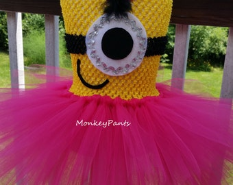 Minion Tutu Dress - Girl Minion Costume - Baby Minion Birthday Party Dress - Hot Pink and yellow