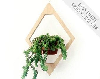 Modern Hanging Planter- Mid Century Plant Stand- Geometric Wooden Planter- Indoor Brass Planter- Boho Decor- Modern Plants- Modern Home Gift