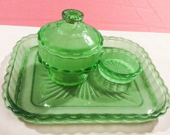 French Vanity Set, Green Frosted Glass, CHRISTMAS IN JULY Sale