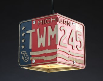 Michigan License Plate Pendant Shade Square - Man Cave - Garage - Repurposed - Upcycle - Automotive Lamp - Transportation Light - Handmade
