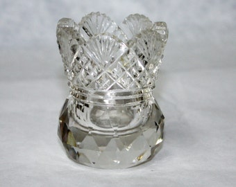 Vintage, Cut Glass, Toothpick Holder, Table Decor, Clear Glass, Fan and Diamond Design