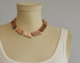 Vintage 50s Renoir Copper Necklace / 1950s Signed Modernist Square Link Choker