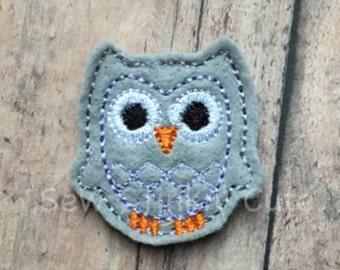 Machine Embroidered Felt Owl (Set of 4)