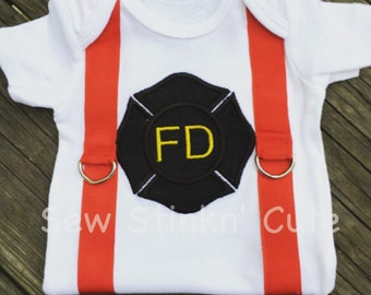 Machine Embroidered/Appliqued Fire Department with Suspenders Shirt