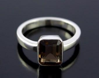 Smoky Quartz Ring. Emerald Cut Smoky Brown Quartz Ring in Sterling Silver. Brown Stone Silver Ring  - CS1506