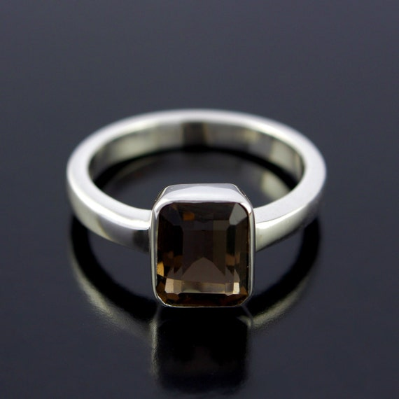 Smoky Quartz Ring. Emerald Cut Smoky Brown Quartz Ring in Sterling Silver. Brown Stone Silver Ring  - CS1506