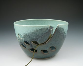 Yarn Bowl Knitters Bowl in Aqua and Blue Handmade Pottery