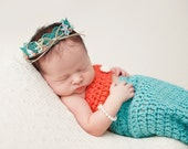Mermaid Inspired Beach Baby - Aqua Blue Lace Crown with Sea Shells and Pearls - Custom Size