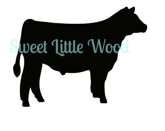 Market Steer - detailed 4-H or FFA steer  3 x digital SVG file in black line format with no fill, white fill and color format. PNG included