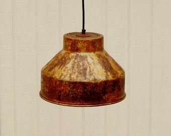 Medium Pendant Light - Antique Milk Strainer Light Fixture