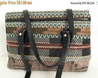 Vintage Kilim Purse Tapestry Carpet Bag Geometric Pattern 1990s