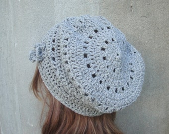 Crochet Slouch Hat, Silver Gray, Wool Silk, Loose Beanie Cap, Women & Teen Girls, Lace Crochet Hat