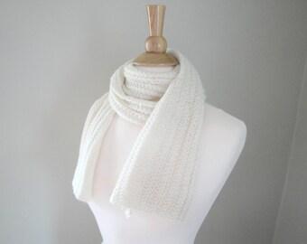 Long Knit Scarf, Alpaca & Merino Wool, Lightweight, Ivory Cream Off White, Lacy German Rib