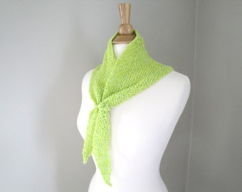Triangle Neck Scarf in Lime Green, Party Scarf, Knit, Light Weight Airy, Office, Silver Flecks