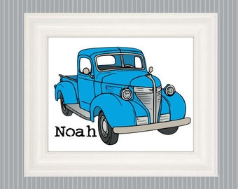 Vintage Truck Art, Old Truck Poster, Boys Bedroom Decor, Boys Bedroom Art, Truck Nursery Art, Big Truck, Personalized  Truck Art