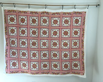 Vintage Tablecloth, Pink Floral Tablecloth, Patchwork Print Tablecloth, Pink and Yellow Table Linens