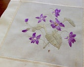 Vintage Linen Doily Society Silk Embroidery Violets Hand Purple Celery Green Square