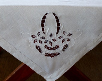 Vintage Linen Tablecloth Natural Cutwork Bridal Basket Hemstitching Topper Hand Embroidery