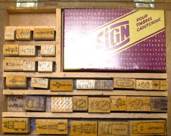 Stencils, Box of 29 1950s  Stencils,  Printing Blocks, Stamps, French Stencils, Wooden Stencils, French Stamps, Assorted Stamps
