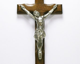 Extra Large Heavy Crucifix,  Crucifix, French Crucifix, Quality Crucifix, Priere Dieu, Sacre Coeur, Sacred Heart, Oak Crucifix, (4517)