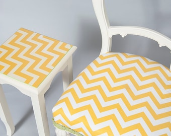 Vintage Yellow & White Chevron Chair and Table