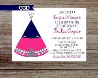 Slumber Party Birthday Party Invitation, girls birthday, campout party, slumber party invite, tent campout party-Printed or Digital File