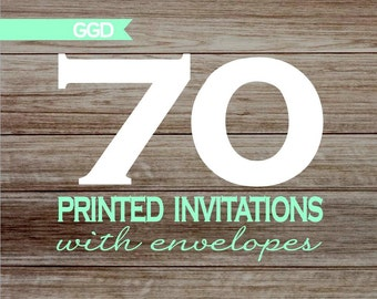 70 Professionally Printed Invitations with Envelopes - 5x7
