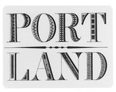 5 PDX Postcards, Retro Fonts, Hand Drawn, Gift