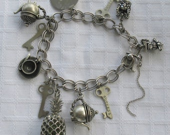 NOT AVAILABLE - Reserved for May ~~~~ Vintage~ BEAU (Beaucraft)  ~ Sterling Link Bracelet with Beau Charms ~ 46 Grams