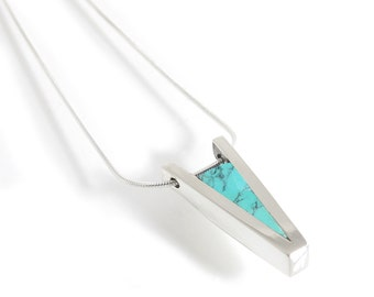 Modern Turquoise Inlay Pendant - V Shaped Pendant Turquoise Silver - Contemporary Inlay Jewelry - Turquoise Necklace Pendant Sterling Silver