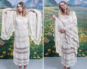 60s Epic BELL SLEEVE Boho CROCHET Dress 1960s Floral Striped Cotton See Through Bohemian Festival Goddess Midi Dress (small)