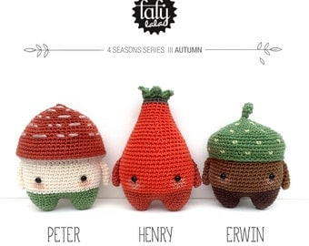 4 seasons: AUTUMN (toadstool, rose hip, acorn) • lalylala crochet pattern / amigurumi