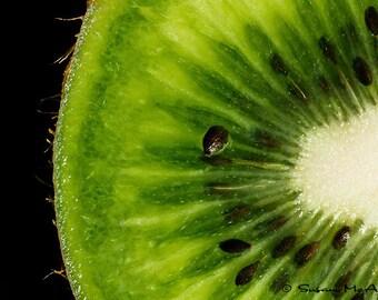 Kiwi Art Photograph, Food Art, Fruit Photograph, Modern Photo Print, Wall Art, Macro Photography, Black, Green, Fruit Pie, Fruit Art