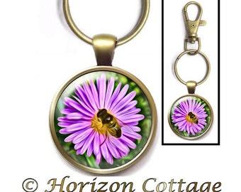 Honey Bee on Flower, Bumblebee on Flower, Bumblebee Key Ring, Honey Bee Purse Clip, Bee on a Flower, Purple Daisy & a Bee, Bee Backpack Clip