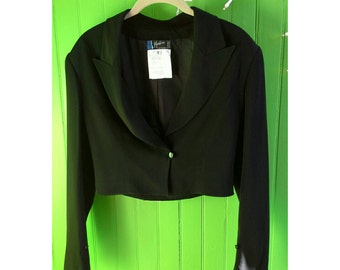 Vintage Claude Montana 1980s Black Cropped Tux Jacket Minimalist New Wave