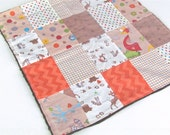 Fox Trails Security Blanket with Brown Minky