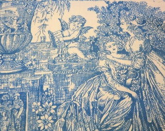 "Fabric...Vintage French Toile Fabric 60"" w  x 20"" L  Blue & White Linen w Cherubs,Boats"