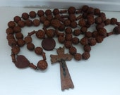 Antique Lourdes Rosary Carved Monastic Belt Length Prayer Aid 6 Decade in Fruitwood