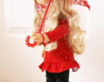 American Girl  Doll Red Umbrella and Boots Set, 18 Inch Doll Umbrella, Doll Boots, Doll Glasses
