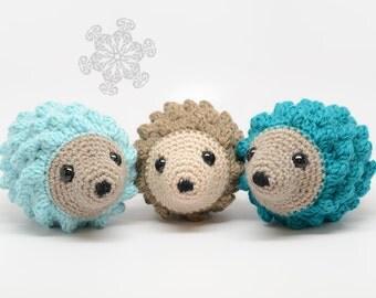 Pale Blue Hedgehog Stuffed Animal, Hand Crocheted Hedgie, Simple Toy