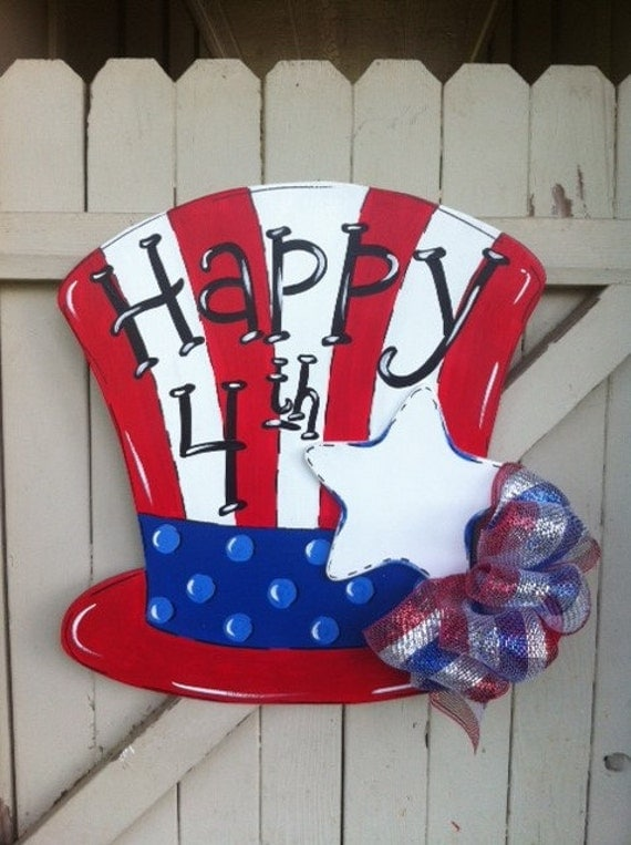 Uncle Sam Forth Of July Top Hat Wooden Personalized Door