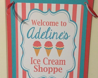 ICE CREAM PARLOR Theme Happy Birthday or Baby Shower Door or Welcome Sign Coral Turquoise
