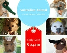 Australian Animal Mask PATTERN collection.  7 masks for the price of 5.  INSTANT DOWNLOAD