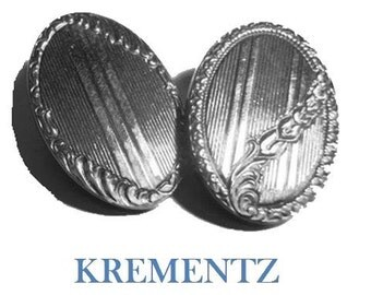 1920's Krementz cuff links signed silver plated double-panel oval Art Deco