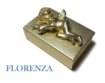 Florenza cherub match box, match safe wonderful condition, gold cherub with harp, gold tipped matches, striker works, late 50s early 60s