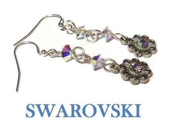 Swarovski drop earrings, pink lavender aurora borealis AB crystal, rhinestone flower ends, silver plated wrapped wire, french hooks and end